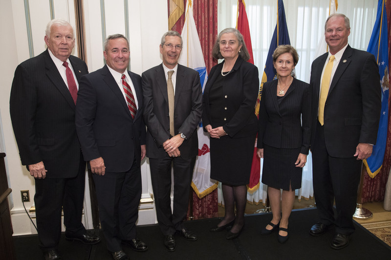 The 2017–2018 IDB Executive Fellows are pictured here with IDB's Board Chairman and President.  Left to right: IDB Board Chairman Thomas W. Bradshaw, Jr.; Vice Admiral William A Brown, USN (Retiring 1 Nov 2017); Mr. Alan F. Estevez, DoD SES (Ret); Ms. Kathryn A. Condon, SES, USA (Ret); Lieutenant General Judith A. Fedder, USAF (Ret); and Major General James L. Hodge, USA (Ret) IDB President. Not pictured:  Lieutenant General Robert R. Ruark, USMC (Ret).