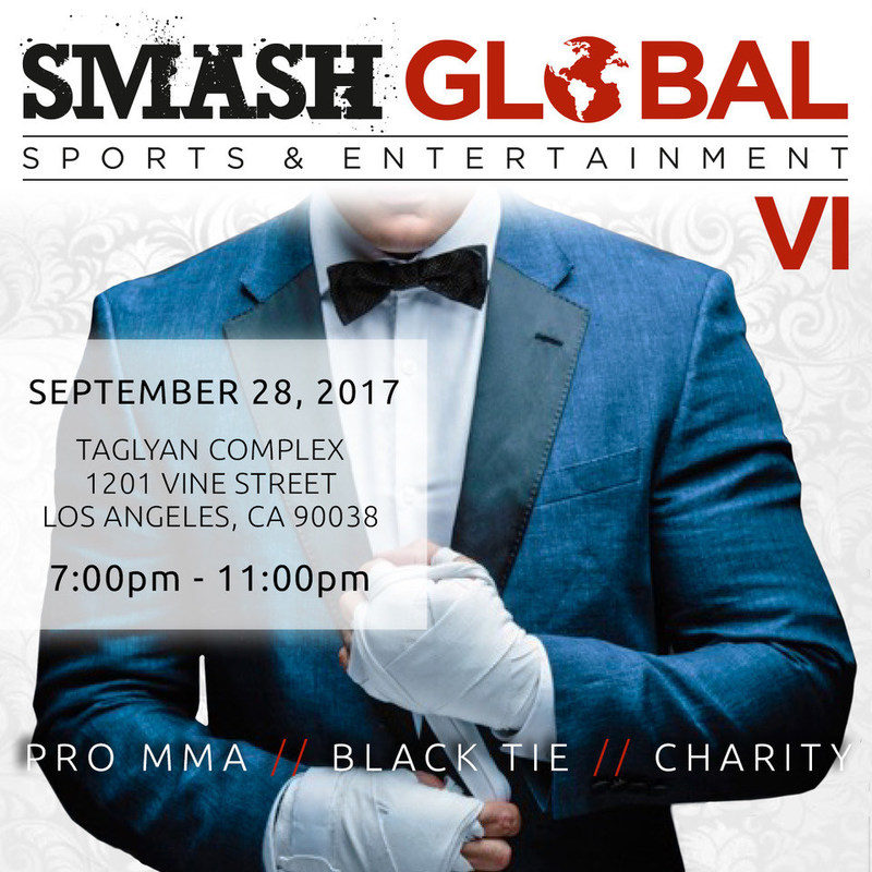 """SMASH Global VI Black Tie MMA Fight Gala comes to Los Angeles on September 28th, honoring Chuck """"The Iceman"""" Liddell with the Icon Award. Live Fights, red carpet: a must attend event."""
