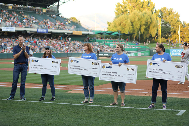 Western Governors University (WGU) and the Salt Lake Bees teamed up to grant scholarships worth a year's tuition to four local students last Friday night.