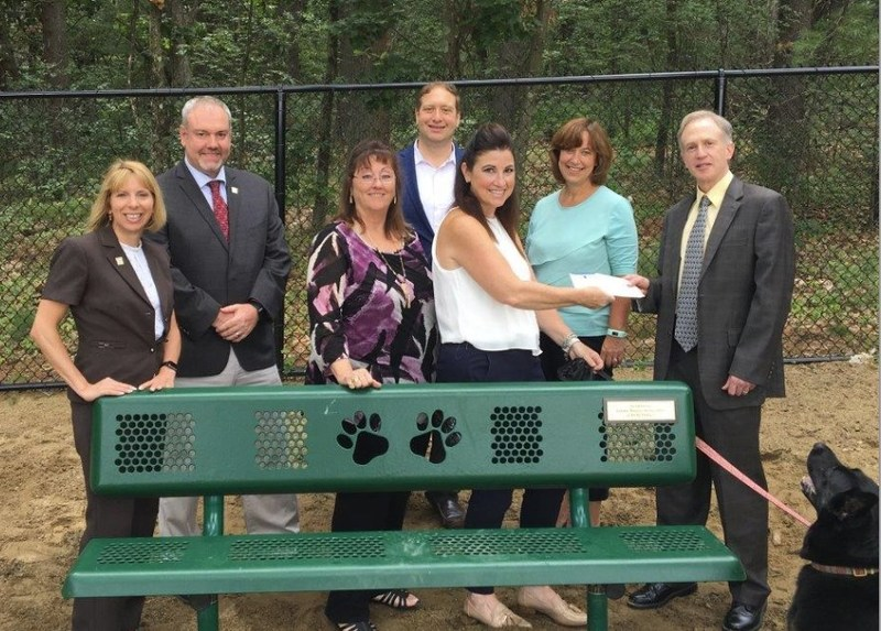 GBAR Leadership Team (L to R: President Elect Marie Presti, Vice President James Major, President Melody Skye Roloff, Treasurer Jason Gell) and GBAR Director present Wilmington Town Manager Jeffery Hull and Town Recreation Director Karen Campbell with a placemaking micro-grant for the new bench installed at the Wilmington Dog Park.