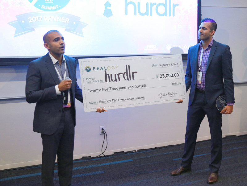 Hurdlr, Inc. was the grand prize winner of the 5th annual Realogy FWD Innovation Summit held at the Microsoft Technology Center in New York City. Hurdlr earned top honors at FWD for presenting the most innovative technology product or service designed for the real estate industry among the 15 emerging technology companies. Realogy presented Raj Bhaskar (left), Hurdlr co-founder and CEO, and Anu Bhaskar, co-founder and CTO, with a $25,000 cash prize.
