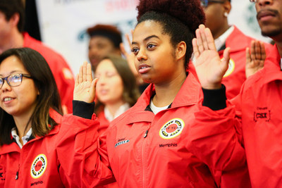 City Year Memphis AmeriCorps members take the pledge to partner with teachers and help Memphis students succeed.