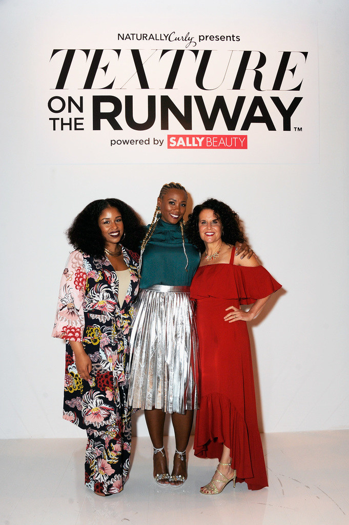 Professional stylist Monica Stevens of @MoKnowsHair, Director of Merchandising for Sally Beauty Karonda Cook and NaturallyCurly Co-Founder Michelle Breyer at NaturallyCurly's Texture On The Runway powered by Sally Beauty.