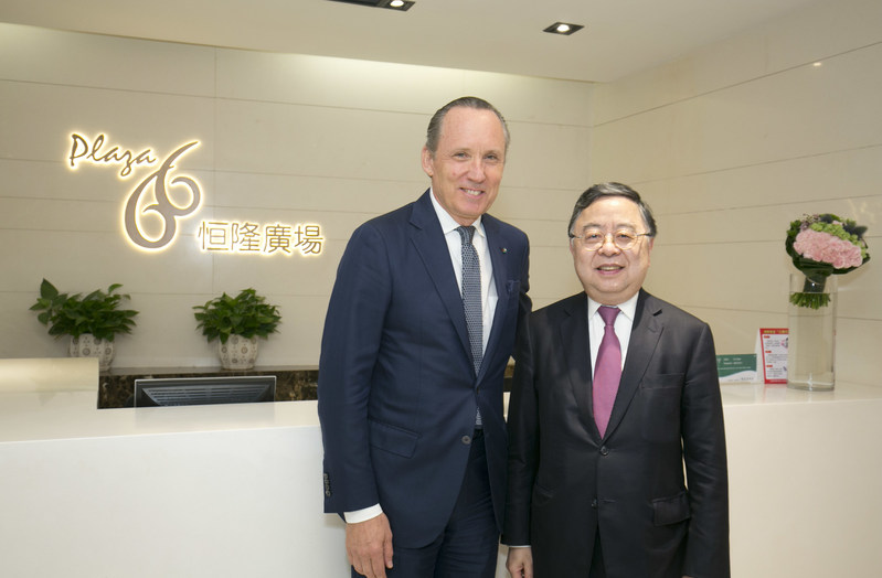 Mr. Ronnie C. Chan (right), Chairman of Hang Lung Properties greets Mr. Ermenegildo Zegna, Chief Executive Officer of Ermenegildo Zegna Group at the Plaza 66 celebration party.