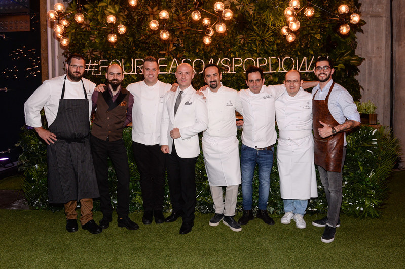 Award-winning Four Seasons Chefs, Mixologists, and Artisans Sylvain Assié, Michal Maziarz, Chris Ford, Lorenzo Antinori, Vito Mollica, Joaquin Grimaldi, Roberto Ceccherni and Mica Rousseau showcase their craft at the first Four Seasons Pop Down.