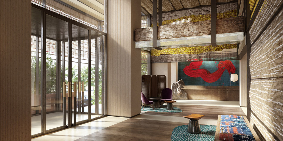 Lobby principal (criado pelo Rockwell Group).