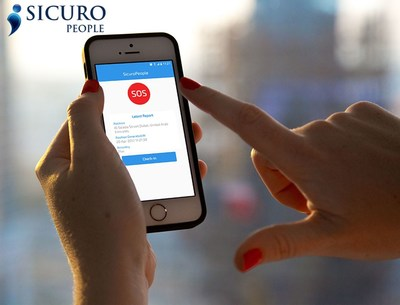 The SicuroPeople personal tracking app has intelligent safety and reporting features. Ideal for corporate travellers, the app has no battery drain and minimal affect on data usage. (PRNewsfoto/SicuroPeople)