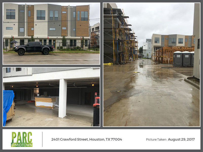 Images taken on Tuesday, August 29, show Crawford Street with no flooding in the street or in the front or back of the townhomes, as well as in the private streets within the development or the condo parking area.