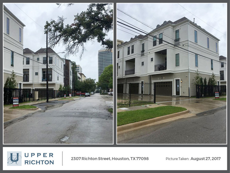 At noon on Sunday, August 27, during a pause in the storm, this picture was taken showing no water accumulation in Richton Street or the private drive of the development.