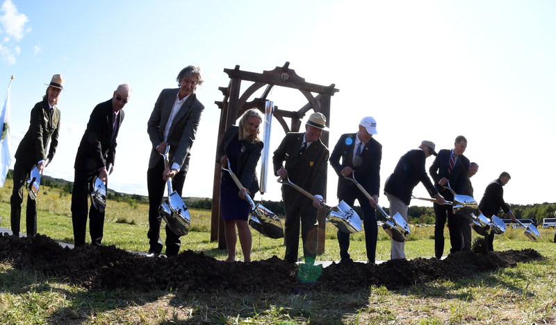 From left to right: Cynthia McLeod, Acting National Park Service Northeast Regional Director; Greg Walker, Stonycreek Township Supervisor; Paul Murdoch, lead architect, Flight 93 National Memorial; Emily Root Schenkel, cousin of Lorraine G. Bay and Treasurer of Families of Flight 93; Flight 93 National Memorial Superintendent Steve Clark; Secretary of the Interior Ryan Zinke; Patrick White, cousin of Louis J. Nacke II, and President of Friends of Flight 93 National Memorial; National Park Foundation President Will Shafroth; John Reynolds, former Federal Advisory Commission Chair, Flight 93 National Memorial; and Dr. Sam Pellman, James L. Ferguson Professor of Music at Hamilton College.  Photo credit: Tami A Heilemann/Department of the Interior