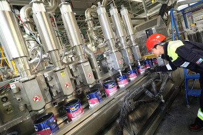 The Ashington plant can produce up to 33,000 different colours across a range of AkzoNobel brands, including Dulux, Dulux Trade, Cuprinol, Polycell, Hammerite and Armstead. (PRNewsfoto/AkzoNobel)