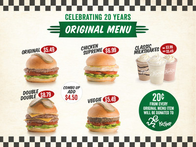Triple O's 20th anniversary menu - $0.20 from each item donated to KidSport (September 10-29). (CNW Group/White Spot Hospitality)
