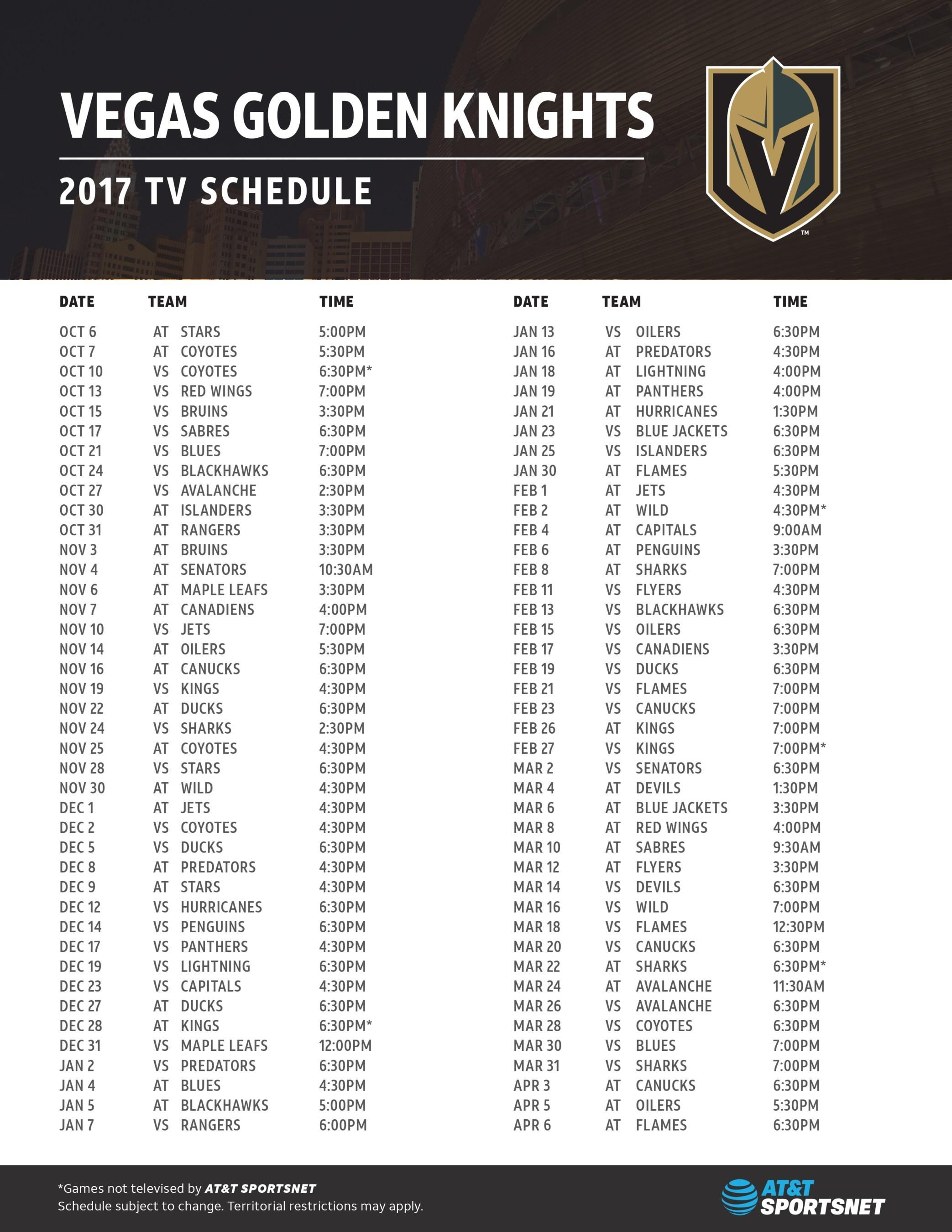 VEGAS GOLDEN KNIGHTS 2017 TV Schedule. (PRNewsfoto/AT&T SportsNet)