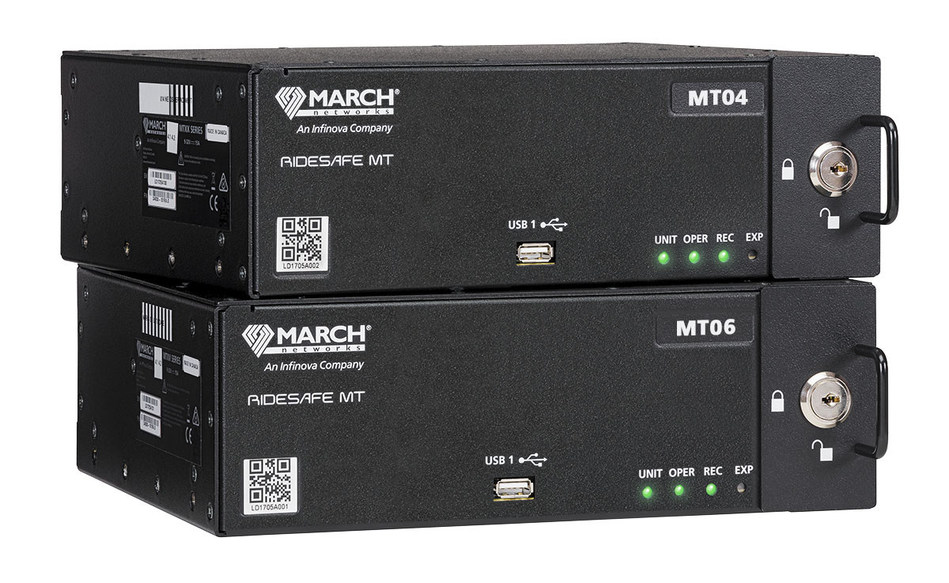 March Networks RideSafe™ MT Series IP Recorders provide transportation agencies with sharp megapixel video, automated wireless downloading, Power over Ethernet, and innovative search and investigation capabilities - including integrated video and vehicle metadata - to help fleet operators investigate complaints, liability claims and other events quickly and cost-effectively. (CNW Group/MARCH NETWORKS CORPORATION)