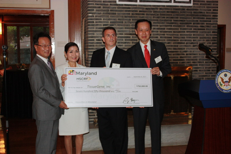 From left to right, pictured here: TissueGene President and CEO Woosok Lee; First Lady Yumi Hogan; TEDCO Vice President for University Partnerships and Maryland Stem Cell Research Fund Executive Director Dan Gincel, Ph.D.; and Maryland Deputy Secretary of Commerce Ben Wu