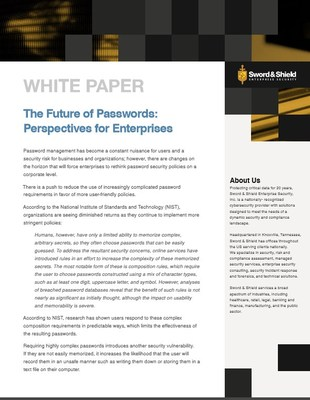 In addition to explaining the latest NIST guidelines, Sword & Shield Enterprise Security's white paper also focuses on password composition, security questions, on- and offline attacks, and multi-factor authentication.