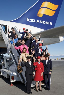 Icelandair staff and actors star in 'Ahead of Time' an immersive theatre production in the skies on a flight from London to New York (PRNewsfoto/Icelandair)