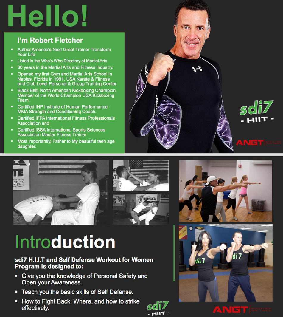 Fight Back! Self Defense and Fitness expert Rob Fletcher introduces a new dynamic program and workout: sdi7 HIIT and Self Defense Workout for Women. Offered to health clubs, gyms, colleges, universities, high schools, and special event workshops.Customized according to needs and objectives, including College Campus Safety. Available as 6-week programs, seminars, and presentations.Rob is available for special appearances, article contributions, radio, and television. robfletcherenterprises.com
