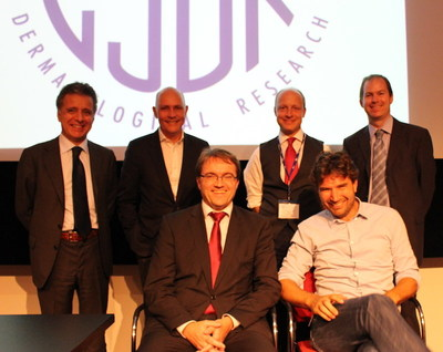 """Paper authors (Back Left to Right) Luigi Naldi, Chris Griffiths, Carsten Flohr, Darren Ashcroft, (Front) Matthias Augustin, and Tamar Nijsten at the conclusion of the symposium, """"The Epidemiology of Psoriasis: Towards a Global Psoriasis Atlas,"""" held during the European Society for Dermatological Research (ESDR) meeting in Rotterdam, the Netherlands."""
