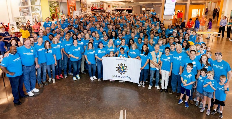 Nearly 250 employees from LyondellBasell's downtown tower volunteered at the Houston Food Bank on the company's 18th Annual Global Care Day event, during which 58 manufacturing sites and offices performed community service projects around the world.