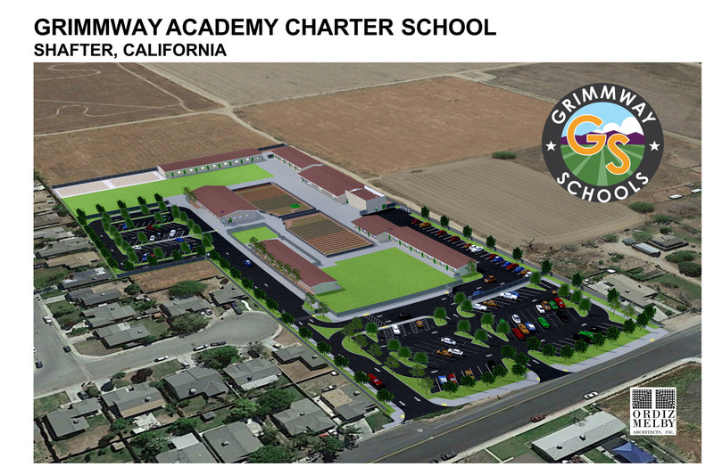 Initial rendering of the campus for Grimmway Academy Shafter.