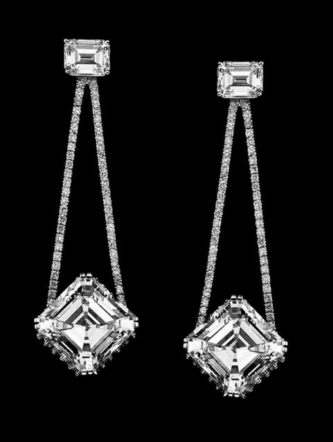 Diamond asscher cut earrings by luxury fine jewelry designer, Samer Halimeh feature a total carat weight of 15.15 in diamonds. Price is available upon request.