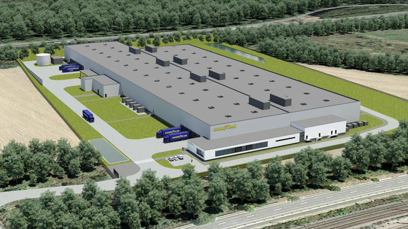 This is an illustration of the new, automated tire facility to be built in Luxembourg by The Goodyear Tire & Rubber Company. The facility will use an innovative production process called Mercury that features highly-automated, inter-connected workstations to efficiently produce premium tires in small-batch quantities.