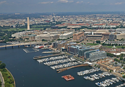 Aerial view of The Wharf, Washington, DC's new $2.5 billion, waterfront neighborhood on the Southwest waterfront.