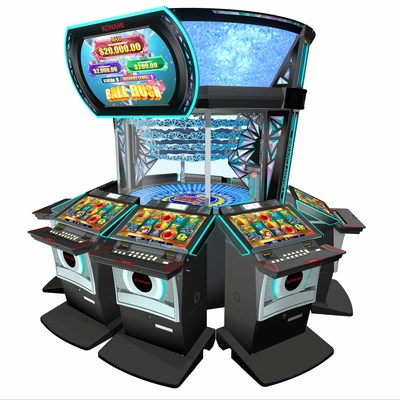 Konami's multi-station Crystal Cyclone game delivers community-style bonus entertainment through a novel mechanical bonusing arena at its center. It is one of many Konami G2E highlights designed to attract and engage diverse audiences through uniquely enjoyable play experiences.