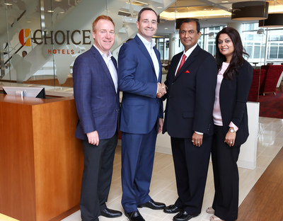 From left to right: David Pepper – Chief Development Officer, Choice Hotels International; Patrick Pacious – President and Chief Executive Officer, Choice Hotels International; Jayesh (Jay) Patel – Owner, Athena Hospitality Group; and Reena Patel