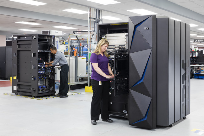 IBM today shipped the first of its breakthrough IBM Z mainframe from its factory in Poughkeepsie, NY. The IBM Z is the world's most powerful and secure transaction system capable of running more than 12 billion encrypted transactions per day - equivalent to 400 Cyber Mondays. The security, high-performance and massive scale of the IBM Z makes it the ideal platform for running the world's core systems for institutions around the world. The system builds on the capabilities of the world's most powerful transaction engine that supports 92 of the world's top 100 banks, 87 percent of all credit card transactions, 29 billion ATM transactions and four billion passenger flights each year. (Photo Credit: Connie Zhou for IBM)