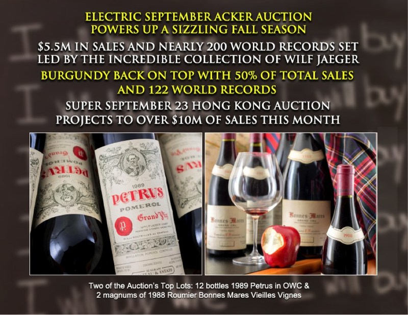 The Auction's Top Three Lots: an eighteen bottle vertical of 1992-2011 Screaming Eagle, twelve bottles 1989 Petrus in OWC & two magnums of 1988 Roumier Bonnes Mares Vieilles Vignes