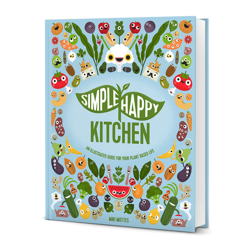 Image of front cover of the Simple Happy Kitchen book.