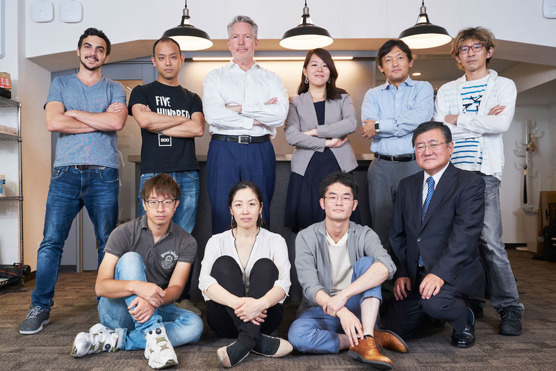 Infostellar Management Team with Investor Representatives from 500 Startups Japan, Airbus Ventures, D4V, WERU Investment, FreakOut Holdings. (Not pictured: Sony Innovation Fund.)