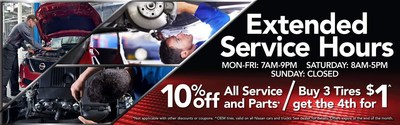 Glendale Nissan offer extended service hours, with online discounts also available at the dealership website.