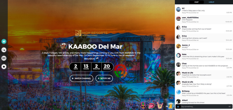KAABOO LiveChannel built by LiveList, with an MGM Resorts Integration