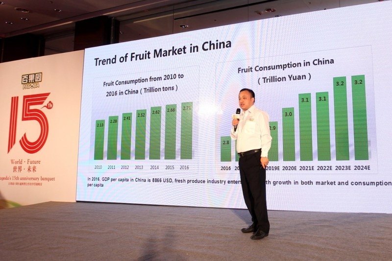Peter Zhu, director of the international procurement division of Pagoda delivers a speech.