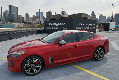 Kia debuts the all-new 2018 Kia Stinger at a runway racing event that showcases the car's style and performance at Pier 92 on September 12, 2017 in New York City.  (Photo by Jason Kempin/Getty Images for Kia Motors)