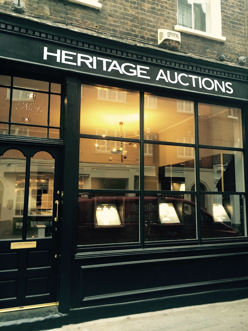 One of the world's largest auction companies, Heritage Auctions (www.HA.com), has now opened an office in London, England at 6 Shepherd Street, London, Mayfair W1J 7JE. The London office joins Paris, Geneva, Amsterdam and Hong Kong in the international footprint for Heritage Auctions.