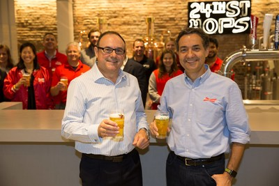 Anheuser-Busch today signed up for enough renewable energy to brew 20 billion beers each year. Anheuser-Busch CEO, João Castro Neves, and Enel Green Power CEO, Rafael González.