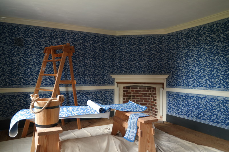 George Washington's Blue Room During Restoration. The space reopens to the public on Saturday, October 7.
