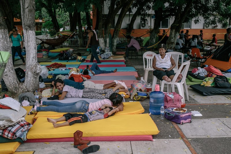 September 10, 2017 – Families that lost their homes in the earthquake rest on mattress pads provided at a government-run shelter in Juchitan, Mexico. Image by Meghan Dhaliwal for Direct Relief (https://www.directrelief.org)