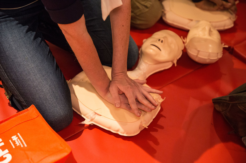 An inflatable manikin is used in Hands-Only CPR training including the training held for Metropolitan Transportation Authority employees on Sept. 12, 2017 at the New York Transit Museum. Hands-Only CPR has two steps, performed in this order: when you see a teen or adult collapse, call 911; then, push hard and fast in the center of the chest until help arrives.