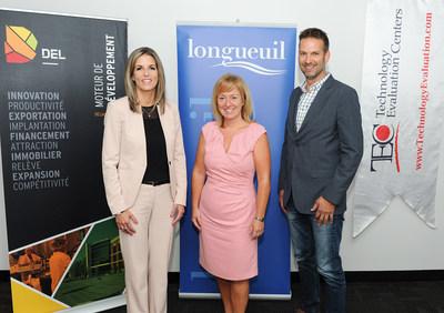 De gauche à droite, Julie Ethier, directrice générale de DEL, Caroline St-Hilaire, mairesse de Longueuil, Nicolas Séguin, vice-président de la division Connectivia de TEC (Groupe CNW/Del)