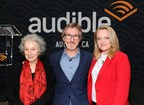 Elizabeth Moss (right) and Margaret Atwood (far left) join Audible CEO and Founder Don Katz (centre) in Toronto today to launch audible.ca, a dedicated Canadian audio service.  Audible.ca is the company's first bilingual website, showcasing Canada's rich heritage of storytelling culture.  It offers a broad selection of more than 300,000 audiobooks, original programs, lectures, comedy and more, including over 100 new titles from Canadian authors in English and French, as well as other long- and short-form local content specially curated by and for Canadians. www.audible.ca/ (CNW Group/Audible, Inc.)