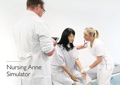 The Nursing Anne Simulator demonstrating realistic patient positioning, articulation, and tetherless operation via a SimPad® PLUS.