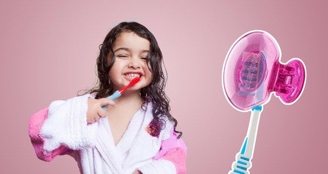 """According to Pediatric Dentist Dr. Danielle Gilbert-Fowler: """"With back-to-school and flu season upon us, protecting your child's toothbrush from airborne contaminants and cross contamination from other family member toothbrushes is more important than ever. As a mom and dentist, I recommend Steripod Kids for my patients. Kids love clipping it on and off their toothbrush. Anything parents can do to help make brushing fun is a win-win."""""""
