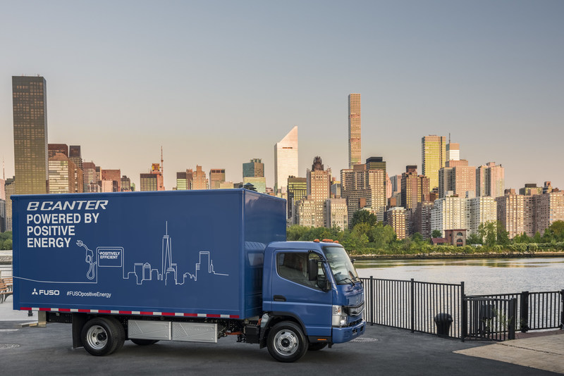 The FUSO eCanter – the first all-electric truck in series production celebrates its global launch in New York City
