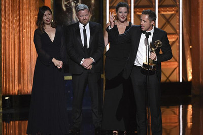 "JohnXHannes New York and Smuggler for ""Calling JohnMalkovich.com"" accept their award at the 2017 Creative Arts Emmys on Sunday at the Microsoft Theater in Los Angeles, CA.  Pictured from left to right: Kristine Ling, Executive Producer, JohnXHannes; Brian Carmody, Executive Producer and Co-Owner, Smuggler; Allison Kunzman, Executive Producer, Smuggler; and John McKelvey, Co-Founder and Executive Creative Director, JohnXHannes. Photo Credit: Invision/AP"