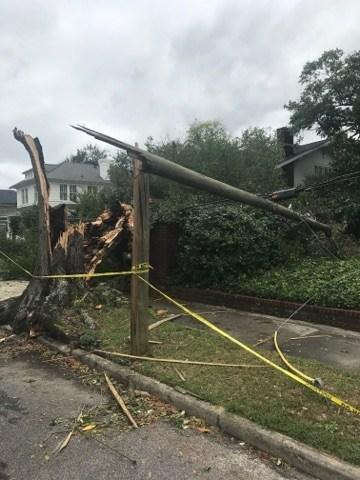 A broken distribution pole in Augusta, Georgia following Hurricane Irma.
